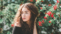 Summer Girl (jonas.svidras) Tags: beautiful female bright beauty fashion flowers girl model outdoors photoshoot season woman green 5k 4k full hd fhd makeup skin red portrait style hair young nature eyes people lady face color colorful lips warm sun curly