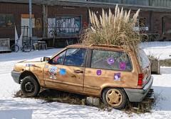 - (txmx 2) Tags: bremen snow car flowerpot grass explored