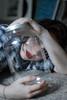 outside the box (fullmoonpills) Tags: glass reflection girl portrait porträt neumünster brownhair femalemodel redlips flannel