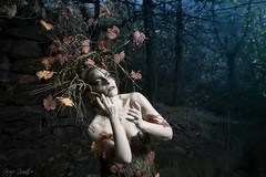 "TEATRONATURA ""Dark Autumn"" (valeriafoglia) Tags: model makeup wood art atmosphere autumn nature colors creative composition capture creature dark dakness dryad magic photography photo portrait pretty outfit stylist style spirit fantasy forest leaves"