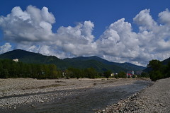 Psezuapse river (МирославСтаменов) Tags: russia caucasus lazarevskoye sochi river coast psezuapse pebble water cloudscape cumulus ridge mountain