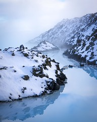 Channel (Thomas James Caldwell) Tags: blue lagoon water cold snow ice steam iceland minerals silica lava field plain reykjanes peninsula geothermal rocks seawater clouds landscape winter