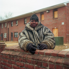 (patrickjoust) Tags: mamiya c330 s sekor 80mm f28 kodak ektar 100 tlr twin lens reflex 120 6x6 medium format c41 color negative film manual focus analog mechanical patrick joust patrickjoust baltimore maryland md usa us united states north america estados unidos urban street city people person portrait woman fur coat row house home brick wall