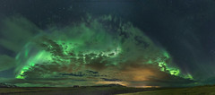 Peek-a-Boo  (On Explore 2018-03-25) (Sigurdur William Photography) Tags: aurora borealis northern lights iceland arctic shots dark night sky star shine bright light pollution cloud radioactive landscape nightscape city glow green pano panorama canon 5dmarkiv 5dmark4 top20aurora