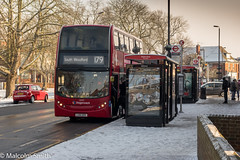 Route 179 Snow (M C Smith) Tags: bus red route 179 chingford southwoodford letters numbers symbols snow tree trees advertising car parked buildings shops wall busstop busshelter poster bricks pavement lines yellow lights people bin crossing orange lamps