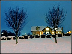 Winter Scene In Chelmsford At Dusk - Photo Taken On March 9, 2018 by STEVEN CHATEAUNEUF - Editing Was Done On March 12, 2018 (snc145) Tags: winter seasons building architecture bushes hill dusk night photo editedimage landscape scenery outdoor chelmsford massachusetts usa stevenchateauneuf march92018 march122018 vividstriking flickrunitedaward