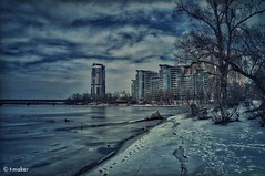 Winter View (t-maker) Tags: river riverfront backwater creek tributary riverbank bank beach bridge subway metro house building apartment highrise block apartmentblock church cathedral water ice icefloe frozen frost snow snowdrift nature tree trunk stem bole rind bark snag grove copse wood woods forest weed moss bush shrub undergrowth brushwood thicket twig branch path pathway footstep footprint winter shadow overcast sky cloud chill coldness reflection waterscape landscape scenery dnieper dnipro kyiv kiev ukraine europe hdr texture sony nex