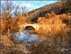 Kern Bridge. (Picture post.) Tags: painting art bridge river kern trees landscape nature green bluesky clouds riverbank forestofdean wyevalley sunlight winter
