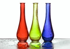 3 Vases (Karen_Chappell) Tags: three 3 vase glass red green blue rgb white stilllife product