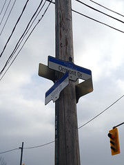 2018-03-08 16.09.35 (djp3000) Tags: signs streetnames streetsigns sky clouds trafficlight northyork signetdrive pole wires telegraphpole samsung galaxys6 s6 grey cloudy