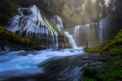 Panther Salvation (Hilton Chen) Tags: trees spring washington waterfall landscape scale person lightrays green panthercreekfalls misty columbiarivergorge ethereal carson unitedstates us