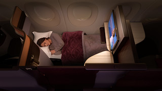 Qatar Airlines Business class at night