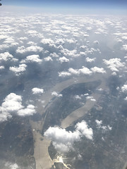 The mighty river Yangtze (长江 Cháng jiāng) in China from about 10.000m or 32.800 feet. (arwed.kubisch1) Tags: china 中華人民共和國 river flus fluss yangtze 長江 长江 jangtsekiang bridge brücke highway autobahn ship schiff clouds wolken shanghai 上海 island insel shiye