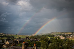 Why settle for one pot of gold? (The Frustrated Photog (Anthony) ADPphotography) Tags: category citiestowns england haworth landscape places rainbow travel westyorkshire yorkshire sky tree weather clouds cloudysky colours light town hills cloud cloudy houses buildings settlements canon canon70d canon1585mm outdoor valley countryside rural