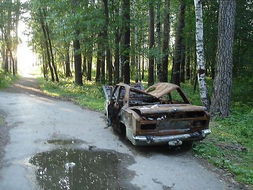Сгоревшая машина у Истокского пруда ©  ayampolsky