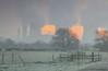 Sunless Sunrise (Julian Barker) Tags: ratcliffe soar power station sawley derbyshire leicestershire border east midlands england uk europe orange glow fence tree field frost cold freezing julian barker canon dslr