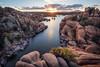 Watson Lake-0354-HDR-Edit (Michael-Wilson) Tags: watsonlake prescott arizona michaelwilson water granite sunshine light sunset flare sunstar sunburst leadinglines reflection foreground mountains valley river