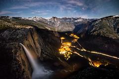 Yosemite Falls and Milky Way (geekyrocketguy) Tags: yosemite yosemitefalls nationalpark valley halfdome curryvillage milkyway night astronomy astrophoto astro landscape nikon 1424 1424mm backpack backpacking