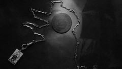 Transient Storm Light (Rand Luv'n Life) Tags: odc our daily challenge miniature macro ivory scrimshaw tall ship pendant english 19th century nautical oil painting marine art pocket watch chain 17th canadian copper half penny storm natural indoor light composition monochrome blackandwhite