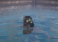 Cleopatra takes a dip in a reflection pool at the Serapeum in ancient Alexandria in Assassin's Creed Origins Discovery Tour (mharrsch) Tags: ancient alexandria serapeum serapis egypt ptolemaicperiod assassinscreed discoverytour mharrsch temple worship library swim pool