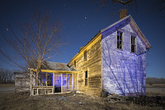 Abandoned Home Yellow-Blue (Notley Hawkins) Tags: rural missouri notley notleyhawkins 10thavenue httpwwwnotleyhawkinscom missouriphotography notleyhawkinsphotography lightpainting bluelight blue night nocturne 光绘 光繪 lichtmalerei pinturadeluz ライトペインティング प्रकाशपेंटिंग ציוראור اللوحةالضوء abandoned sky longexposure ruralphotography trees chartitoncountymissouri windows outdoor serene architecture house riverbottoms missouririverbottoms home 2018 march facade shadows yellow yellowlight