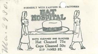 Hat Hospital business card, circa 1920s
