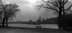East of Cincinnati with snow showers (Nickademus42) Tags: repaired 120 bw conversion bellows project podcast photography film white black kodak vigilant tmax 100 616 panorama pano cincinnati ohio river bridge barge