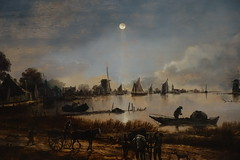 "Detail of ""River View by Moonlight"", c.1640-50, oil on panel (Sparky the Neon Cat) Tags: europe netherlands north holland amsterdam rijksmuseum museum art gallery river view moonlight van der neer"