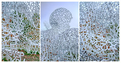 House of Knowledge Sculpture Triptych (CEWWtyke) Tags: sculpture letters alphabet house knowledge jaume plensa stainless steel human lattice network shape form white metal