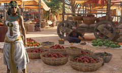 My character as Cleopatra explores a Ptolemaic-era Egyptian market in Assassin's Creed Origins Discovery Tour (mharrsch) Tags: cleopatra ancient egypt ptolemaicperiod market farmersmarket fruit vegetable wagon ubisoft assassinscreedorigins discoverytour game videogame mharrsch