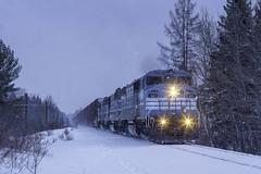 Blue hour at Blair (Thomas Coulombe) Tags: centralmainequebec cmq job2 emdsd402f gmdsd402f sd402f freighttrain train blair maine codelines mooseheadsub