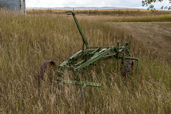 2017-09-15_14-29-49 Green Harrow (canavart) Tags: prairie alberta nanton canada couttscentreforwesterncanadianheritage landscape clouds storm farm fields rustic machine harrow green