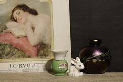 White Rabbit (N.the.Kudzu) Tags: home tabletop stilllife vase rabbitfigure perfume bottle canon70d industar50mmf35