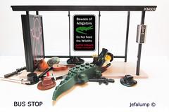 Bus Stop 006: Feed Your Creativity (jefalump) Tags: busstop medicom kaws comicstrip minifigs kubrick lego alligator hats weapons