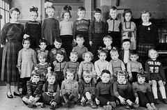 Class photo (theirhistory) Tags: children kids boys school girls dress skirt shorts trousers shoes wellies jumper rubberboots bow