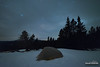 Hiding Stars (kevin-palmer) Tags: bighornmountains bighornnationalforest wyoming march winter spring snow snowy cold night sky stars dark astronomy astrophotography clouds cloudy pinetrees sheepmountain bigagnes tent campsite camping