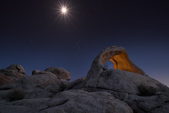 The Hunter (Darkness of Light) Tags: orion moon light scorpius scorpious arch joshua tree np national park stars blue hour sony a7r2 a7rii 1224 f4 g fe rock pile painting