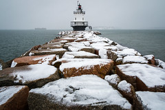 Snowy Spring Point. (Andrew P ( the_aberrant)) Tags: landscape lighthouse snow storm noreaster rocky ocean maine portland canon canon70d newengland navigation tourism travel neverstopexploring eastcoast exploration environment atlantic nature wilderness
