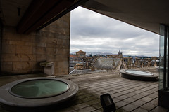EPMG Edinburgh Cityscapes March 2018-31 (Philip Gillespie) Tags: edinburgh scotland scottish city march 2018 spring buildings architecture scape view roofs chimneys steam trees birds pigeons seagulls views castle ancient museum history sun clouds sky mountains hills churches cathedral people nature mono monochrome black white colour color blue red green yellow orange grey purple wildlife urban canon 5dsr framing framed