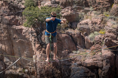 would you? (Christian Collins) Tags: canoneos5dmarkiv ef100400mmf4556lisiiusm slacklining tightrope canyon royal gorge royalgorge colorado dangerous blindfolded daredevil scary heights
