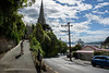 Waiting for Me (Jocey K) Tags: newzealand nikond750 southisland buildings otago portchalmers sky clouds building archtiecture ionaunionchurch clocktower church people pathway hill trees houses ship sea