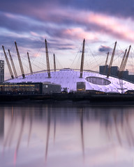 Pink Mormings Over The 02 (JH Images.co.uk) Tags: london hdr dri reflection water o2 dome millennium art architecture