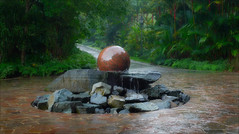 Rain in the Botanic Gardens (kate willmer) Tags: rain sculpture water path garden trees botanical singapore