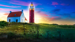 Lighthouse and White house on Texel The Netherlands shared with pixbuf (Bart Ros) Tags: texel lighthouse beach sky light color sunset sun