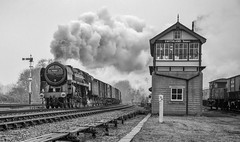 Here's to another 10 years with Oliver Cromwell (photofitzp) Tags: 70013 gcr olivercromwell smoke standard steam swithlandsidings timelinecharters blackandwhite