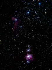 Orion's Belt and Sword (bencbright) Tags: orion nebula nebulae runningmannebula orionnebula horseheadnebula flamenebula star astrophoto night longexposure sx60 canonsx60