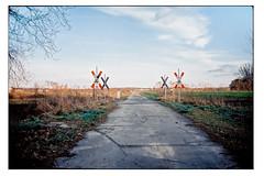 (schlomo jawotnik) Tags: 2018 januar harvesse bahn bahnübergang andreaskreuz wiese bäume dorf land weg baum asphalt usw