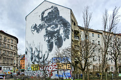 The Astronaut (JuliSonne) Tags: streetart urbanekunst mauer wall graffiti colors scene urban pasteup stencil street berlin victorash astronaut