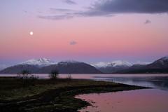 Night Ends, Day Begins. (Lindi m) Tags: scotland lochlinnhe glencoe ballachulish sunrise fullmoon snow loch dawn daybreak