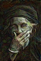 Risa contenida (cirooduber) Tags: visualart trollieexcellence awardtree ostagram oldman oldwoman digitalarttaiwan homeless